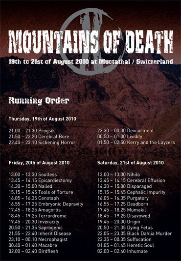 Mountains Of Death X - Running Order